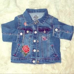 Toddler Girl Patches Denim Jacket